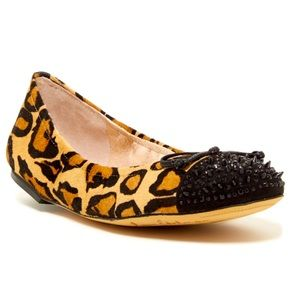 Sam Edelman Beatrix Leopard Calf Hair Studded Flat